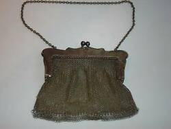 Antique silver purse marked G. Silver mesh design good condition