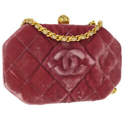 Auth CHANEL Quilted CC Logos Single Chain Shoulder Bag Pink Gold Velvet AK21383