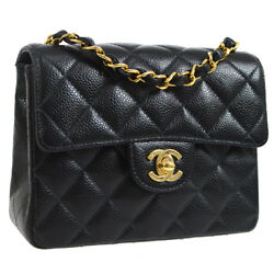 Auth CHANEL Quilted CC Single Chain Shoulder Bag Black Caviar Leather AK21537