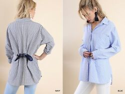 Sml Umgee Blue Striped Lace/tie Back Button Down Tunic/top/blouse/shirt Bhcs