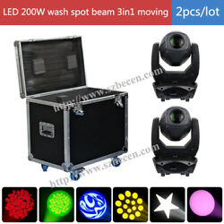 US 2pcsflightcase LED 200w Moving Head Beam Spot Wash 3in1 Moving head Light