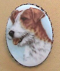 Terrier Pin Oval shaped Pin with Terrier Cameo Wire-Haired Terrier Vintage Pin