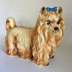 STAFFORD Yorkshire Terrier Ceramic Figure Long Hair  Bow THE KENNEL CLUB Dog Vtg