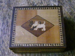 1930'S  SOUVENIR FROM CALIFORNIA DUDE RANCH INLAID SCOTTISH TERRIER DOG WOOD BOX