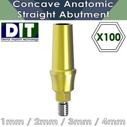 100 X Dental Implant Concave System Straight Abutment Anatomic Shoulder Hexagon