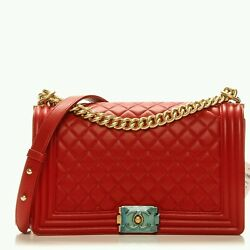 Chanel Boy Red Calfskin Large Crossbody Handbag