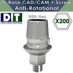 200 X Dental Implant Ti-base Sironaandreg Cad/cam Anti Rotational With Hex + Screws