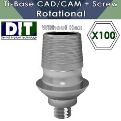 100 X Dental Implant Ti-base Sirona® Cad/cam Rotational With Out Hex + Screws