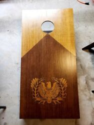 Homemade Stained And Burned Warrant Officer And/or Aviation Cornhole Boards.