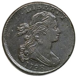 1798 S-166 2nd Hair, Large 8 Draped Bust Large Cent Coin 1c
