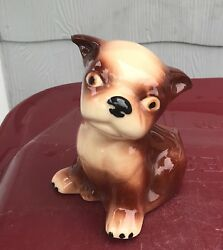 Vintage Brown & White Boston Terrier Dog Planter ~ cute puppy