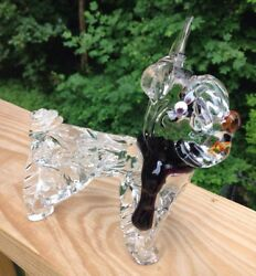 Murano Art Glass Schnauzer Dog Figurine  Colored Scarf Terrier  Unique