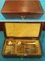 Austrian Sterling Silver Cased Flatware Set Ladles Leather Tooled Box C-1820