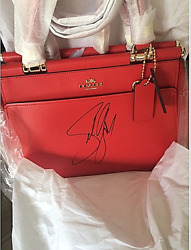 🌺🌹Coach Selena Gomez Signed Grace Red Mixed Leather Satchel Crossbody Bag