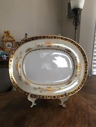 Minton Dynasty Cobalt Blue And Gold 13and039and039 Oval Serving Platter - England