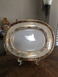Minton Dynasty Cobalt Blue And Gold 14 7/8and039and039 Oval Serving Platter - England