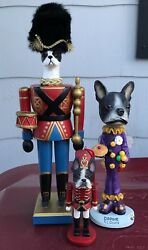3 different Boston Terrier Dog Figurines ~ soldier ~ drummer ~ clown