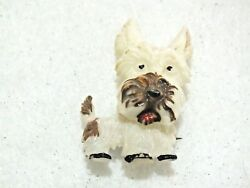 VINTAGE ESTATE CZECHOSLOVAKIA ARTICULATED PLASTIC TERRIER PIN BROOCH