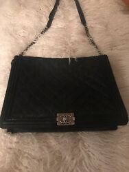 Chanel Black Goatskin Leather XL Le Boy Cross Body Bag with Ruthenium Hardware