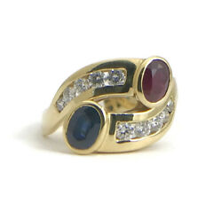 Red Ruby Blue Sapphire Diamond Cocktail Ring 18k Yellow Gold 1.10 Ctw 5.56 Gram