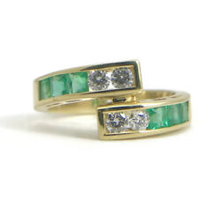 Green Emerald And Diamond Wrap Ring In 18k Yellow Gold 1.18 Ctw 5.34 Grams