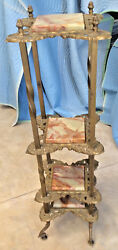 Plant Stand Victorian 4 Onyx Shelves Brass Stand/finials C. 1880-90s 45 1/2h