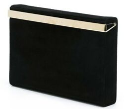 $1165 NEW Charlotte Olympia VANITY CLUTCH Suede Black POLISHED Gold $425.00