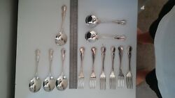 Antique Silver Dessert Spoons And Forks X 12 Items