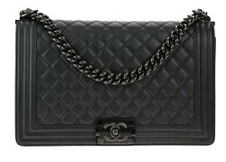 CHANEL So Black LARGE Caviar Boy Handbag NEW