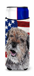 Border Terrier Mix USA American Flag Ultra Beverage Insulators for slim cans