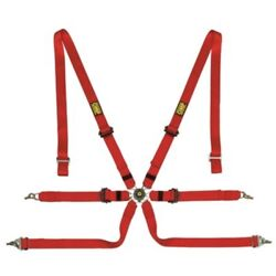 Omp Berlina 6-point Pull Down Harness - Black Or Red - Fia Approved
