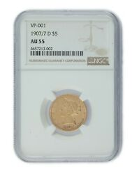 1907/7-d 5 Us Gold Liberty Half Eagle Graded By Ngc As Au55 Vp-001