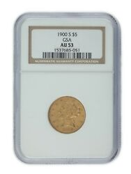 1900-s Gold 5 Us Gold Half Eagle Graded By Ngc As Au-53 Unique Release By Gsa