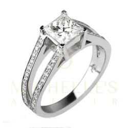 2.95 ct F SI Princess Cut Women Diamond Engagement Ring 18K White Gold