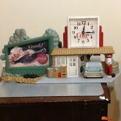 Vintage 1990 Plastic Coca Cola Gas Station Drive In With Clock