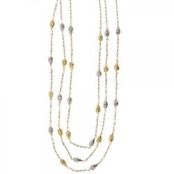 White Gold 18kt 750/1000 Fine Layered Cable Chain With Hammered Drops Necklace