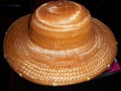 Vintage Asian Straw/bamboo Round Hat - Multi-design - Good Cond.