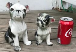 2 Vintage Sitting Boston Terrier Dog Pups