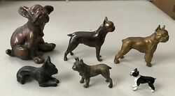 Collection of 6 metal Boston Terrier Dog Figurines ~ all different