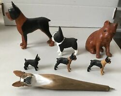 another Collection Carved Wood Boston Terrier Dog Figurines & pen