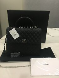 CHANEL BLACK COCO HANDLE FLAPBAG  CAVIAR QUILTED BAG