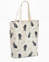 New Old Navy Peace Love Graphic Cotton Canvas Tote Bag for Women Shopping Beach