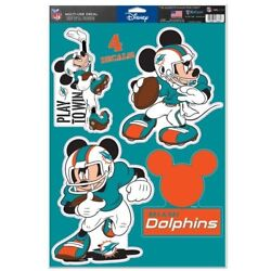 Miami Dolphins 4 Piece Mickey Mouse Decals 11x17 Wall Graphics Disney