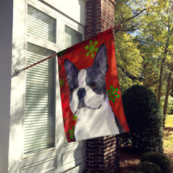 Boston Terrier Red  Green Snowflakes Holiday Christmas Flag Canvas House Size