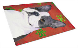 Boston Terrier Red and Green Snowflakes Christmas Glass Cutting Board Large