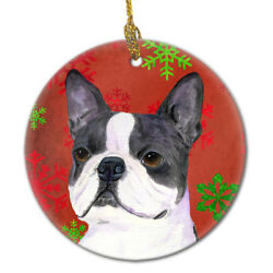 Boston Terrier Red Snowflakes Holiday Christmas Ceramic Ornament SS4723