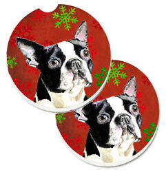 Boston Terrier Red Green Snowflakes Christmas Set of 2 Cup Holder Car Coasters