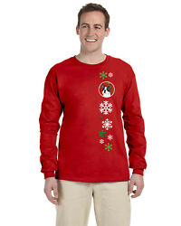 Boston Terrier Red Green Snowflakes Christmas Long Sleeve Red Unisex
