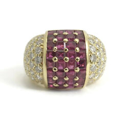 Ruby Diamond Dome Cocktail Ring 18K Yellow Gold 2.63 CTW Size 6 13.57 Grams