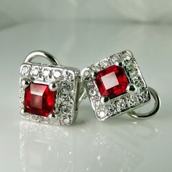 Vivid Gem Natural Ruby Diamond Earrings 18K White Gold Wedding Anniversary